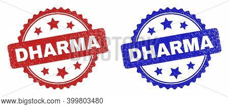 Rosette Dharma Seal Stamps. Flat Vector Grunge Seal Stamps With Dharma Message Inside Rosette Shape