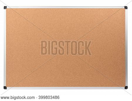 Blank Cork Notice Board With Metal Aluminum Frame Isolated On White Background