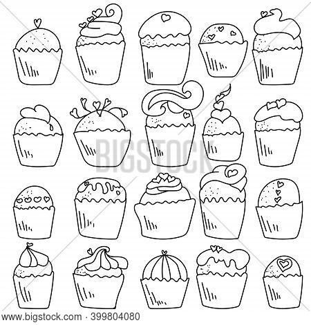 Set Of Doodle Cupcakes With Hearts Decor, Contour Cupcake For Valentine's Day, Coloring Page With Sw