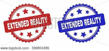 Rosette Extended Reality Seals. Flat Vector Distress Seals With Extended Reality Phrase Inside Roset