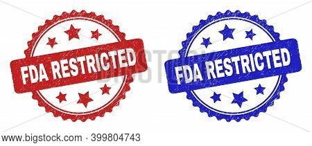 Rosette Fda Restricted Seal Stamps. Flat Vector Grunge Stamps With Fda Restricted Message Inside Ros