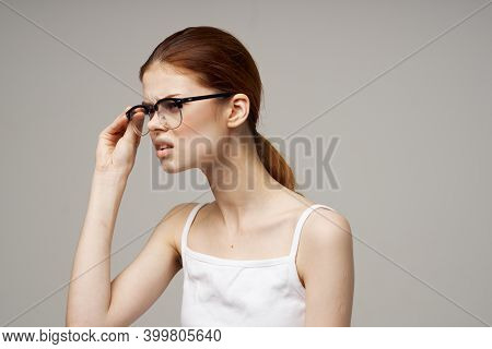 Woman With Poor Eyesight Glasses Health Problems Myopia Astigmatism