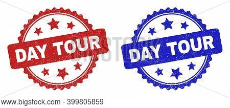 Rosette Day Tour Stamps. Flat Vector Scratched Stamps With Day Tour Title Inside Rosette With Stars,