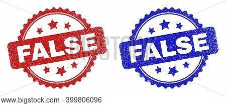 Rosette False Watermarks. Flat Vector Distress Seal Stamps With False Phrase Inside Rosette Shape Wi