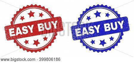 Rosette Easy Buy Watermarks. Flat Vector Grunge Watermarks With Easy Buy Message Inside Rosette Shap