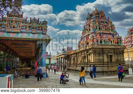 Chennai, India - October 27, 2018: Interior Scene Of Kapaleeswarar Temple Is The Chief Landmark Of M