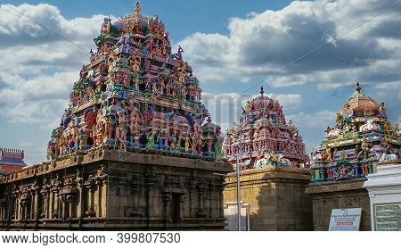 Chennai, India - October 27, 2018: Kapaleeswarar Temple Is The Chief Landmark Of Mylapore And One Of