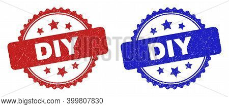 Rosette Diy Watermarks. Flat Vector Grunge Watermarks With Diy Text Inside Rosette With Stars, In Bl
