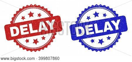 Rosette Delay Seal Stamps. Flat Vector Scratched Stamps With Delay Text Inside Rosette With Stars, I