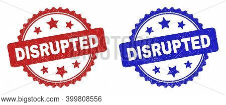 Rosette Disrupted Watermarks. Flat Vector Scratched Watermarks With Disrupted Message Inside Rosette