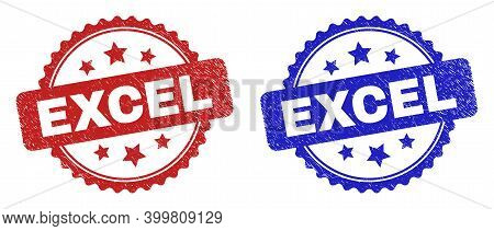 Rosette Excel Seal Stamps. Flat Vector Textured Seal Stamps With Excel Caption Inside Rosette Shape