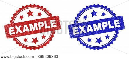 Rosette Example Seals. Flat Vector Distress Watermarks With Example Message Inside Rosette With Star