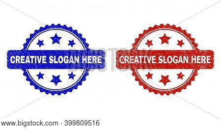 Rosette Creative Slogan Here Seal Stamps. Flat Vector Distress Stamps With Creative Slogan Here Phra