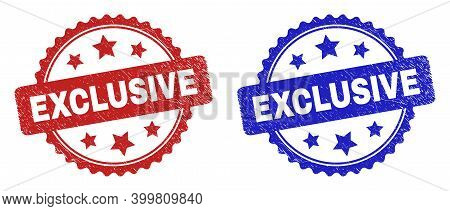 Rosette Exclusive Seal Stamps. Flat Vector Textured Seal Stamps With Exclusive Title Inside Rosette