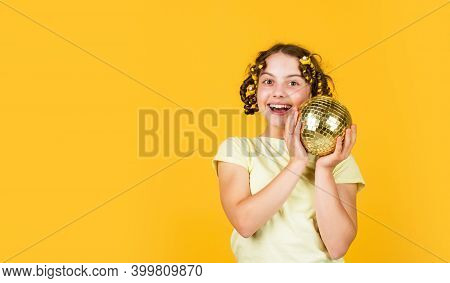 Night Club. Hairdresser Salon. Fancy Teen. Hairstyle For Disco Party. Have Fun. Child Hold Golden Di