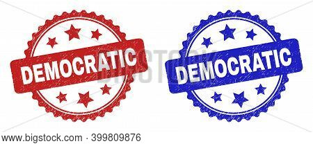 Rosette Democratic Seal Stamps. Flat Vector Scratched Stamps With Democratic Caption Inside Rosette