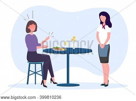 Dissatisfied Female Restaurant Visitor Screams At Waiter. Woman Sitting At Served Dinner Table With