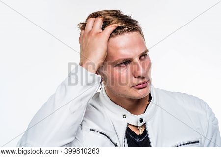 A Perfect Cut. Blond Man Touch Hair Isolated On White. Hair Salon. Barbershop. Haircare Products. Gr