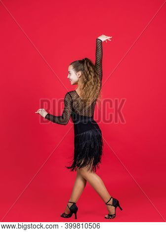 Kid Dancing In Black Dress. Child In Dance Pose. Professional Slowfox And Quickstep. Waltz And Tango