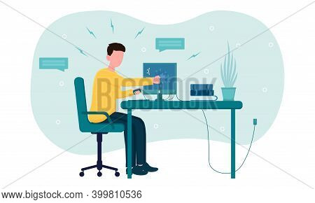 Stressed Angry Office Worker Breaks Computer At Work. Concept Of Hard Constant Work That Makes Stund