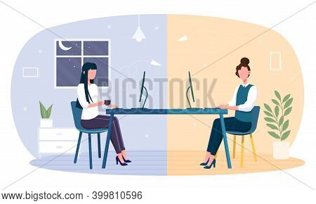 Cozy Workspace For Team Work. Two Female Characters Sitting At Table And Work In Team. Concept Of Im