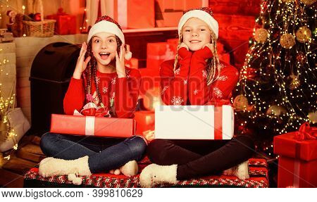 Boxing Day. Happy Holidays. Fun And Cheer. Children Cheerful Christmas Eve. Christmas Gifts Concept.