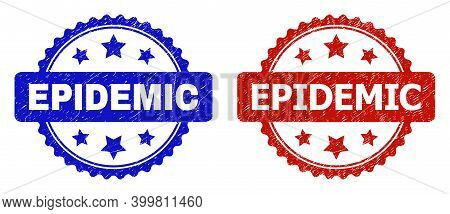 Rosette Epidemic Seal Stamps. Flat Vector Distress Stamps With Epidemic Text Inside Rosette Shape Wi