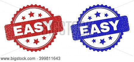 Rosette Easy Seal Stamps. Flat Vector Distress Seal Stamps With Easy Phrase Inside Rosette With Star