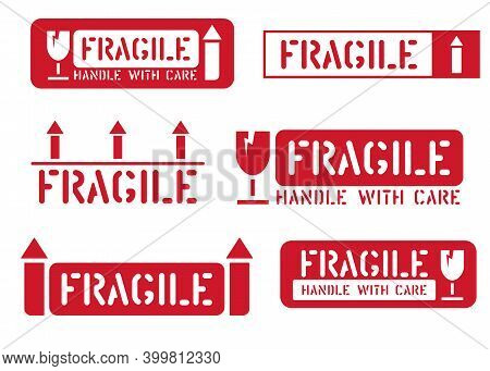 Fragile, This Way Up, Handle With Care Box Signs. Vector Set Of Cargo Sticker And Icons For Logistic