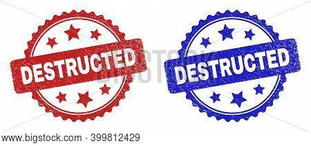 Rosette Destructed Stamps. Flat Vector Distress Seal Stamps With Destructed Caption Inside Rosette W
