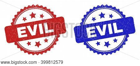 Rosette Evil Seals. Flat Vector Scratched Seals With Evil Message Inside Rosette With Stars, In Blue