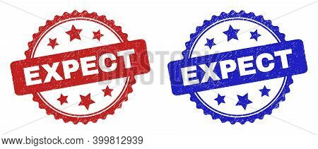 Rosette Expect Stamps. Flat Vector Distress Seal Stamps With Expect Message Inside Rosette With Star