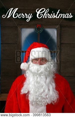 Santa Claus Portrait. Santa Claus sits for his Christmas Portrait while in his Studio in the North Pole. Santa Claus has his photo taken every year to celebrate the New Christmas Season.