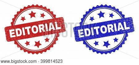 Rosette Editorial Stamps. Flat Vector Grunge Seal Stamps With Editorial Message Inside Rosette Shape