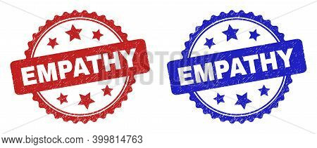 Rosette Empathy Stamps. Flat Vector Distress Watermarks With Empathy Title Inside Rosette Shape With