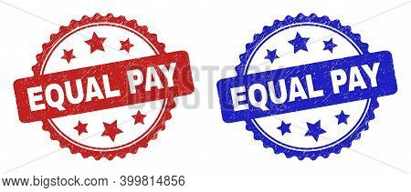 Rosette Equal Pay Watermarks. Flat Vector Grunge Watermarks With Equal Pay Message Inside Rosette Wi
