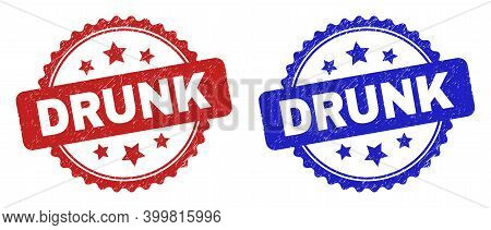 Rosette Drunk Stamps. Flat Vector Grunge Stamps With Drunk Caption Inside Rosette With Stars, In Blu