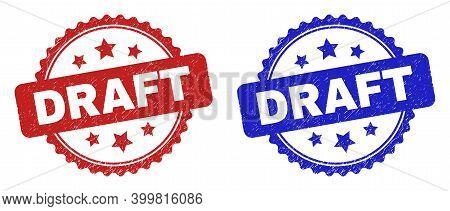 Rosette Draft Watermarks. Flat Vector Scratched Seal Stamps With Draft Phrase Inside Rosette With St