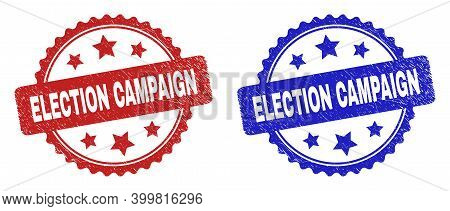 Rosette Election Campaign Watermarks. Flat Vector Distress Watermarks With Election Campaign Caption