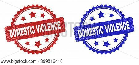 Rosette Domestic Violence Stamps. Flat Vector Scratched Watermarks With Domestic Violence Title Insi