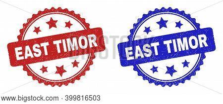 Rosette East Timor Watermarks. Flat Vector Distress Watermarks With East Timor Text Inside Rosette S