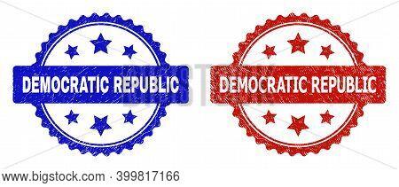 Rosette Democratic Republic Seal Stamps. Flat Vector Grunge Seal Stamps With Democratic Republic Tex