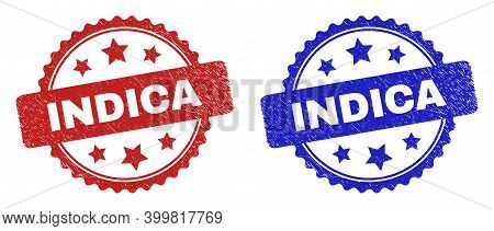 Rosette Indica Seal Stamps. Flat Vector Scratched Seal Stamps With Indica Message Inside Rosette Wit