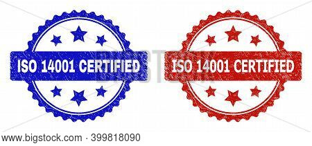 Rosette Iso 14001 Certified Stamps. Flat Vector Grunge Watermarks With Iso 14001 Certified Message I