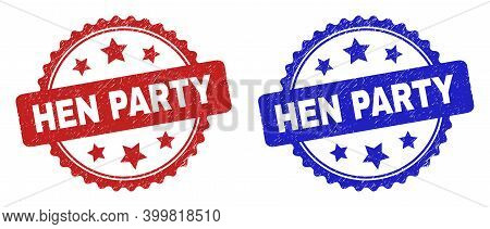 Rosette Hen Party Seal Stamps. Flat Vector Textured Seal Stamps With Hen Party Text Inside Rosette W