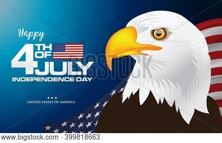 4Th Of July. Happy Independence Day Of America Background With Waving Flag And Bald Eagle