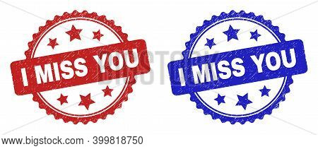 Rosette I Miss You Seal Stamps. Flat Vector Grunge Seal Stamps With I Miss You Phrase Inside Rosette
