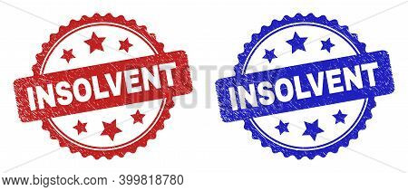 Rosette Insolvent Seal Stamps. Flat Vector Grunge Seals With Insolvent Text Inside Rosette With Star