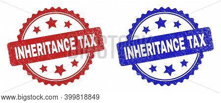 Rosette Inheritance Tax Stamps. Flat Vector Scratched Seal Stamps With Inheritance Tax Text Inside R