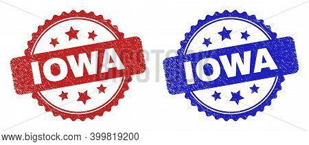 Rosette Iowa Watermarks. Flat Vector Grunge Watermarks With Iowa Text Inside Rosette Shape With Star